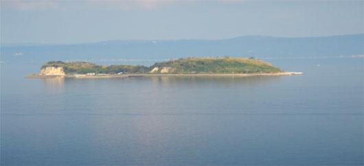 錦江湾に浮かぶ燃島
